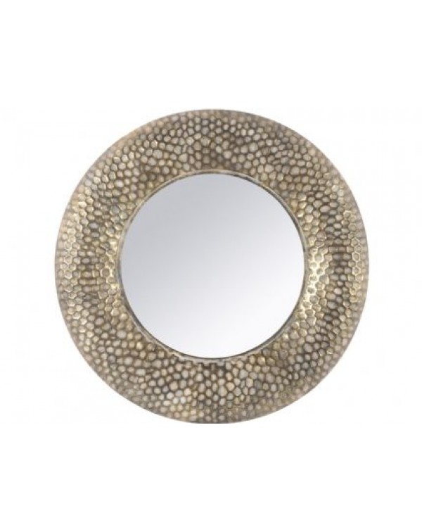 Libra Antique Gold Round Honeycomb Mirror